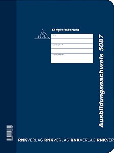RNK 5087 - Ausbildungsnachweis-Hefter mit Block (Art.Nr. 5082) täglich, Kunststoff, blau, für DIN A4, 1 Stück
