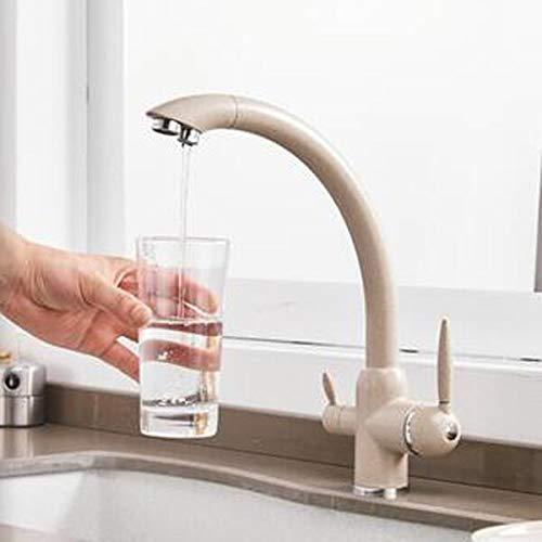 JYHW Grifo de cocina de 3 vías Soporte doble Filtro de doble orificio Grifo de cocina de agua Grifo de agua potable dorado negro cromado Beige con punto