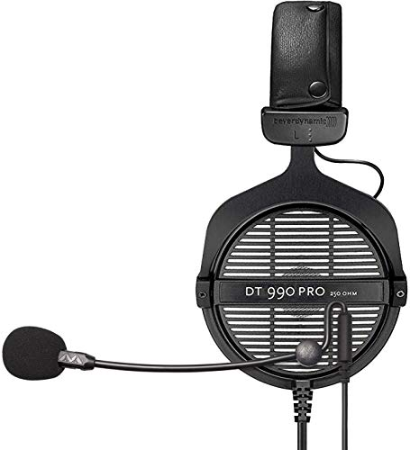 Beyerdynamic DT 990 PRO 250 Ohm Open Back Headphones for Studio Mixers and Audio Interfaces Bundle with ModMic Uni with Mute Switch, and Blucoil Y Splitter for Audio, Mic