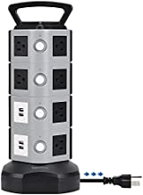 Surge Protector Power Strip Tower - SUPERDANNY 3000W 13A with 4.2A 4 USB Slot 14 Outlets 16AWG 6.5ft Heavy Duty Cord Wire Extension Electric Charging Station Universal Socket for iPhone iPad PC Laptop