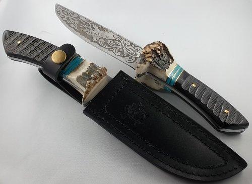 gamsjaga Jagdmesser Messer Bowie geätzt Rehbock Rinderhorn