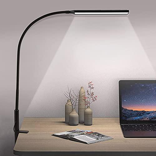 Lámpara Escritorio LED 10W Lámpara de Lectura Flexo de Escritorio, 360° Cuello Flexible,...