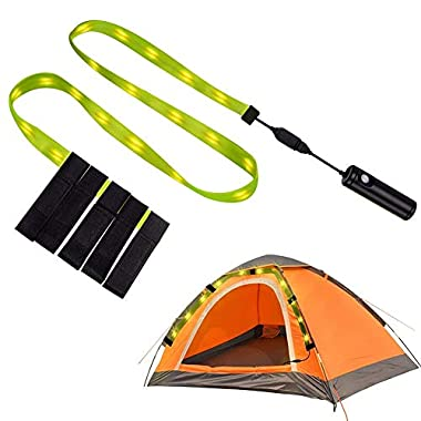 Emotionlite LED Camping Lights, Tent Light String Portable Waterproof, 6.3Ft USB Camping Strip Lights with 18 LEDs, Rechargeable Outdoor Emergency Safety Hiki Light, WarmWhite