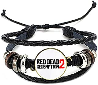 Red Dead 2 Redemption Bronze Necklace Bounty Hunter Badge Pendant Leather Chain Choker Key Chain Jewelry For Mens