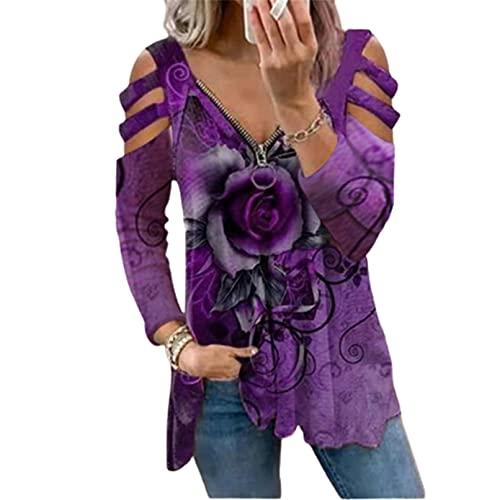 EveryLu Camiseta casual para mujer de manga larga con cuello en V con cremallera para cuello en V y corte de tiras en el hombro frío suelta camisetas Blusas, Morado (, L