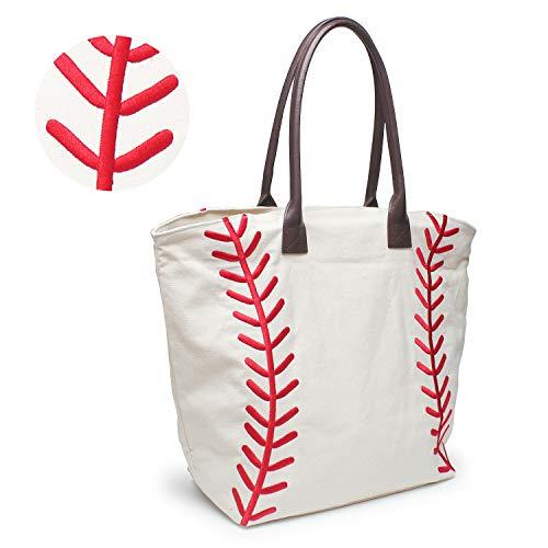 YIQIGO Baseball Bag Handbag for Woman Shopping Bag Travel Bag Canvas Casual Bag with Polyester Linning Sports Bag (Embroidered)