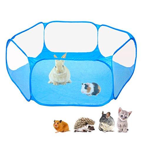 Hopfällbar husdjurshage inomhus utomhus, Macllar djur lekhage bur för marsvin, hamster, kanin, råtta, Piggies Run bärbar (Blå)
