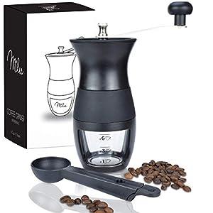Milu ® Molinillo de Café Manual,Molinillo de Cónico,Molinillo de Grano de Café Portátil de Mano con Brocha y Cuchara, ajuste de molienda variable, Fino y Grueso