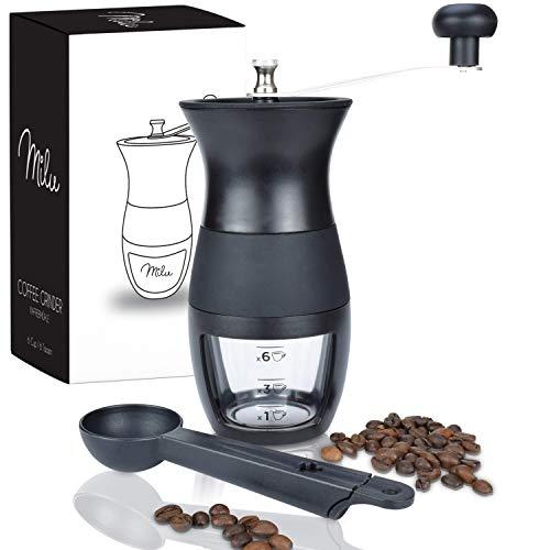 Milu® Manuelle Kaffeemühle Handkaffeemühle mit Keramik Mahlwerk I Stufenlose Mahlgradeinstellung I Espressomühle I – mit Löffel & Bürste