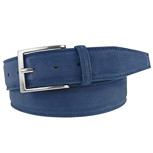 MYB Cintura uomo in vera pelle nabuk - Made in Italy - altezza 40 mm - diversi colori e taglie disponibili (115-130 cm, Blu)