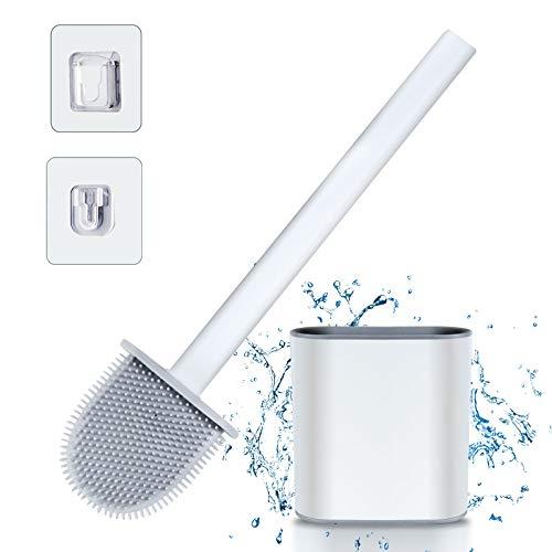 Toilettenbürste Silikon mit Halter - Antibakteriell Toilet Brush und Behälter Wandmontage & Stehen Klobürste Bürste mit Schnell Trocknendem Haltersatz Brushes Holder Set für Badezimmer, Gäste WC(Weiß)