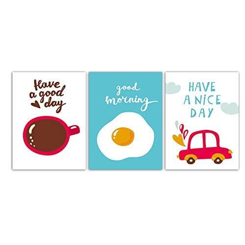 CTRGSM Malerei Wandkunst Drucke Aquarell Kaffee Ei und Rot Auto Bilder Kinderzimmer Leinwand Poster Wohnkultur-40x60cm FDWFN