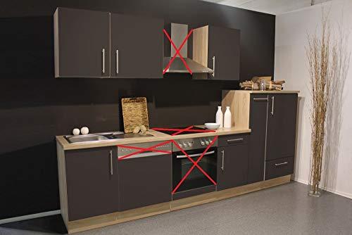 Menke Küchenzeile 310 cm Hochglanz Lava ohne Geräte mit Spüle & Blende - Smart Lack Hochglanz Lava