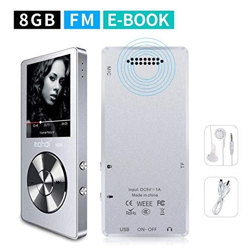 mymahdi 8GB Reproductor de MP3portátil (ampliable a 128GB), reproductor de música/radio FM/grabadora de voz 70horas de reproducción con una tecla con altavoz externo HD auriculares, Plata