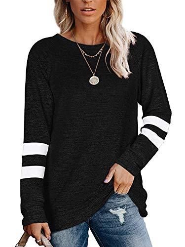 Owin Womens Color Block Sweatshirts Fashion Casual Crewneck Stripe Long...