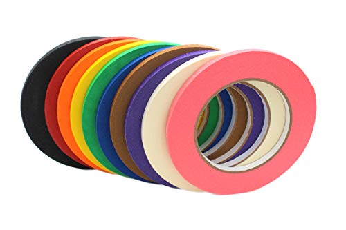 Slank Gekleurd Afplakband van BAM! Tape | 10 kleuren 6 mm x 540 m Totaal |Kunst en Ambachten Ponsband | Decoratieve Papier Tape Gekleurde Masking Tape | Kunstbenodigdheden voor Kinderen, Whiteboard