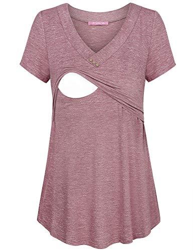 JOYMOM Nursing Tunics to Wear with Leggings,Maternity Chic V Neck Short Sleeve Breastfeeding T Shirts Womens Lightweight Flowing Pregnant Tops Obstetric Daily Wear Rose Red Medium