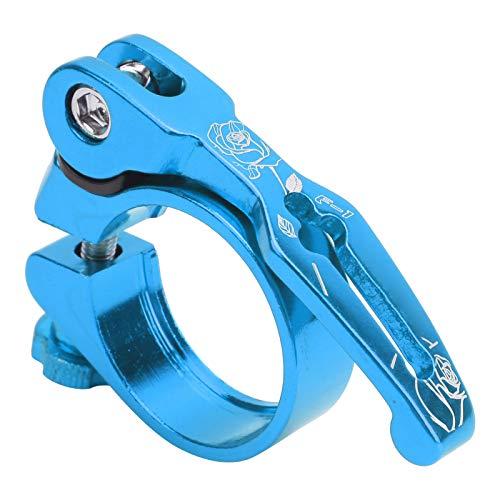 Meiyya Abrazadera de liberación rápida, Abrazadera de tija de sillín de liberación rápida, aleación de Aluminio, Tratamiento anodizado, Abrazadera para tija de sillín de(Blue)