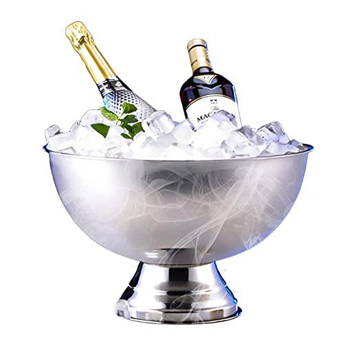 XBR Nuevo Cubo de Hielo, Enfriador de champán para un Mejor Aislamiento, Enfriador de champán de 13,5 l, Enfriador de Botellas, Enfriador de Vino, Acero Inoxidable, Plateado, sin asa