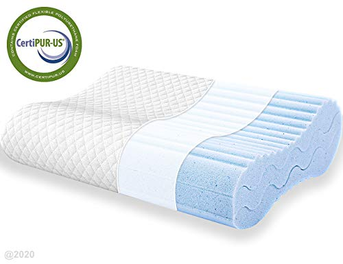 POLAR SLEEP Contour Memory Foam Pillow, Adjustable Sandwich Pillow, Orthopedic Ergonomic Cervical Pillow, Neck Support, CertiPUR-US
