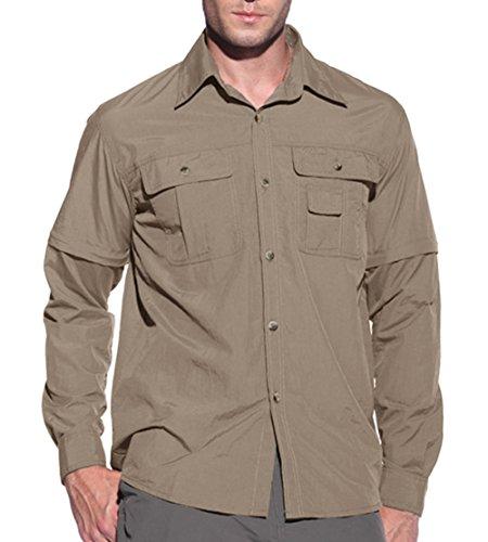 KEFITEVD Camisa Militar para Hombre Camisa de Caza UV Camisa para Hombre Camisa de Trabajo de Verano Camisa de ejército Ligera Camisa para Hombre de Color Caqui XL
