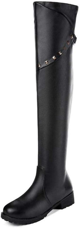 Hoxekle kvinnor Thigh höga stövlar Rivets Plush Fur Fur Fur Winter skor kvinna Round Toe stövlar Mode Vintage Ladies skor  försäljning online spara 70%