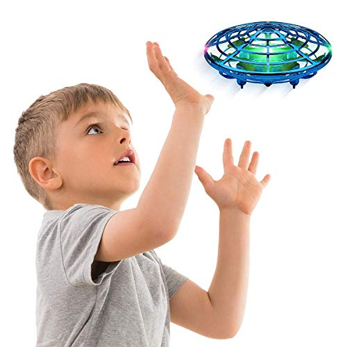 TDOYO Hand Operated Drones for Kids or Adults - Scoot Hands Free Mini Drone Helicopter, Easy Indoor Small Orb Flying Ball Drone Toys for Boys or Girls,Blue
