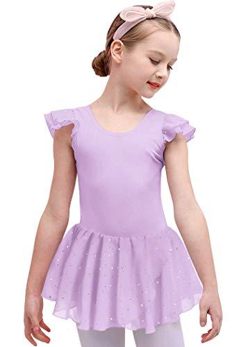 Bricnat Mädchen Ballettkleidung Ballettkleid Tanzbody Gymnastikanzug Balletttrikot Kurzarm Tanzkleid mit Tütü Kinder Baumwolle Violett 120