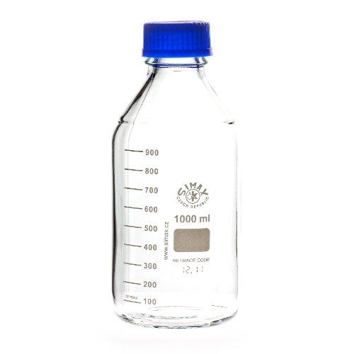 Laborgewindeflaschen mit blauer Kappe und Ring 1000 ml, aus Borosilikatglas, blauer Ausgießring, Gewindeflasche, Glasflasche