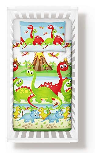 Juego de cama de dinosaurios, funda de edredón + funda de almohada para cuna o cuna, cama para niños, 100% algodón (90 x 120 cm)