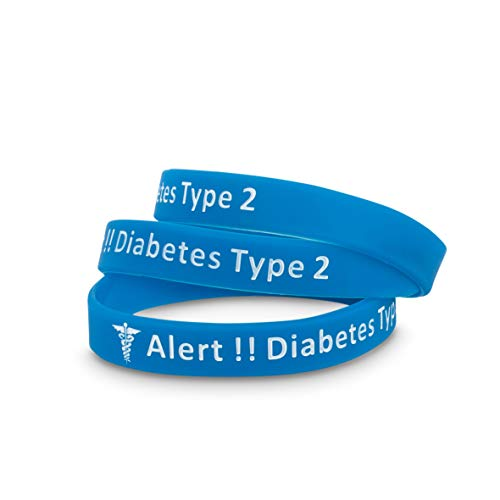 Medicaband 3 Pack-Type 2 Diabetes Medical Alert ID Silicone Blue Wristband, One Size 212mm Standard Adult Wrist