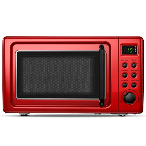 ARLIME Retro Countertop Microwave Oven, 0.7Cu.ft, 700-Watt with 5 Micro Power Defrost & Auto Cooking Function, LED Display, Glass Turntable & Viewing Window, Stainless Steel (Red)