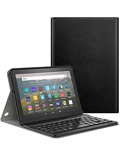 Dadanism Keyboard Case for All-New Kindle Fire HD 8 Tablet(10th Gen 2020 Release) and Fire HD 8 Plus 2020 Release, Detachable Wireless Keyboard Standing, PU Leather Cover Case - Black