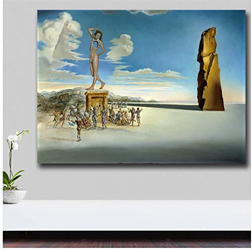 A&D Der Gott der Rosenbucht von Salvador Dali Leinwandbild für Wohnzimmer Home Decor Ölgemälde auf Leinwand Wandkunst -50x100cm ohne Rahmen