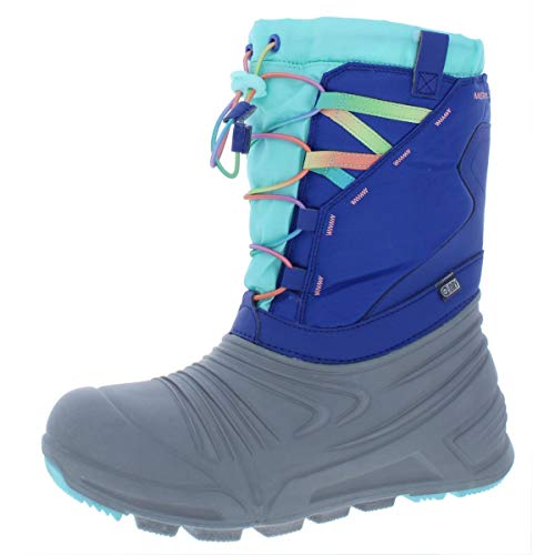 Merrell Kids' Unisex M-Snow Quest Lite 2.0 Wtrpf Snow Boot, Grey/Blue/Turq, 03.0 M US Little Kid