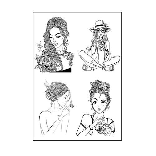 ECMQS Cooles Mädchen DIY Transparente Briefmarke, Silikon Stempel Set, Clear Stamps, Schneiden Schablonen, Bastelei Scrapbooking-Werkzeug