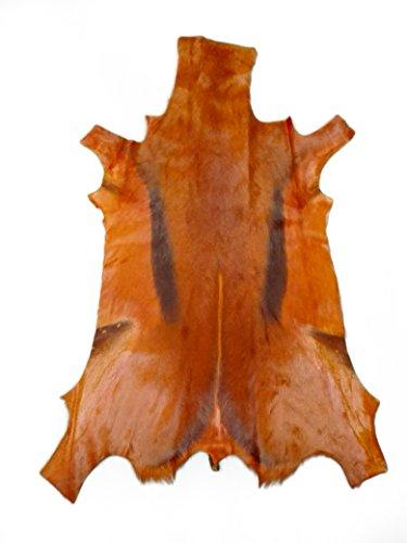 Zerimar Alfombra Piel de Gacela Natural Premium | Springbok | Alfombra Salon Grandes | Alfombras Exóticas | Alfombras de Salon (naranja1)