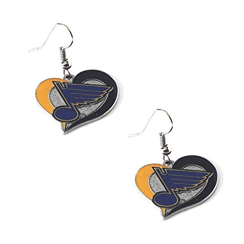 NHL St. Louis Blues Swirl Heart Earrings