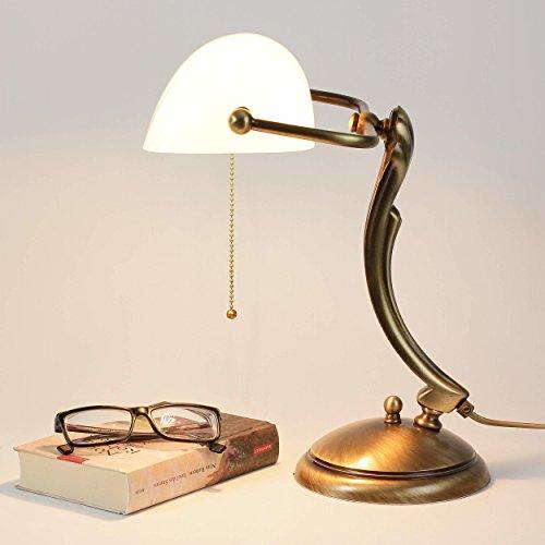 Bankerlampe Glasschirm Echt-Messing Bronziert Glänzend Jugendstil Art Déco Zugschalter...