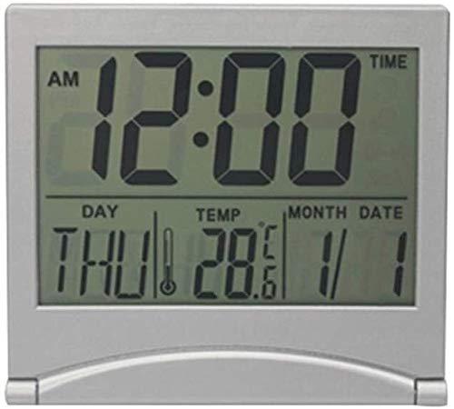 LCD Digital Reloj despertador Mesa de escritorio Escritorio Tiempo Temperatura Ectronic Hogar Reloj Termómetro Digital Calendario Plegable Alarma Alarma, Mesa de noche, Escritorio, Estante (Color: 2)