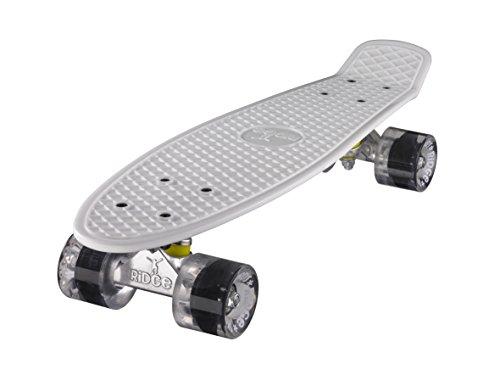 Ridge Skateboard 55 cm Mini Cruiser Retro Stil In M Rollen Komplett U Fertig Montiert Weiss Klar,