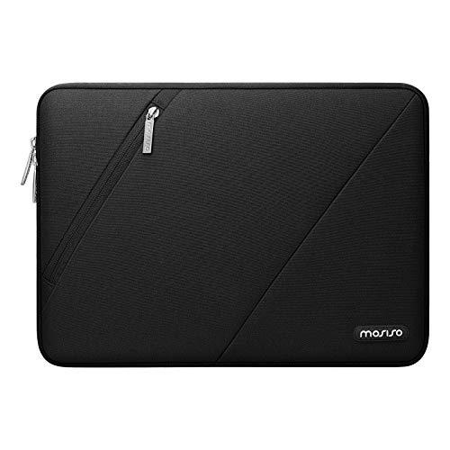 MOSISO Laptop Hülle Kompatibel mit MacBook Pro/Air 13 Zoll, 13-13,3 Zoll Notebook Computer, Wasserabweisend Polyester Schutzhülle Tragetasche mit Vorderer Linker Ecktasche, Schwarz