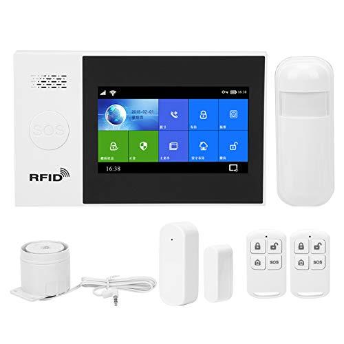 Sistema de alarma de seguridad antirrobo con pantalla táctil de 4.3 pulgadas, sistema de alarma inalámbrico Wifi + GSM + GPRS, sistema de seguridad para el hogar con control remoto de aplicación(EU)