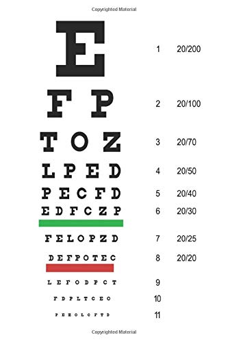 Snellen Eye Chart Notebook: Eye Chart Journal Blank Lined Ruled For Writing 6x9 120 Pages
