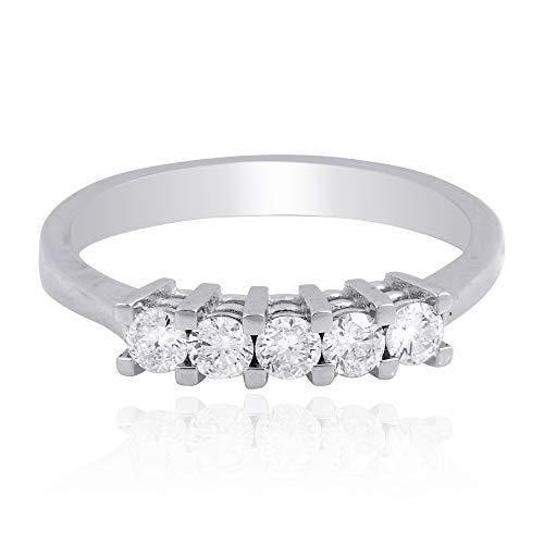 Spectrum Jewels Natural 1/2 Ct SI Clarity HI Color Cinco Diamante Anillo Anillo Sólido Oro Blanco 18k Joyas para Niñas y Mujeres