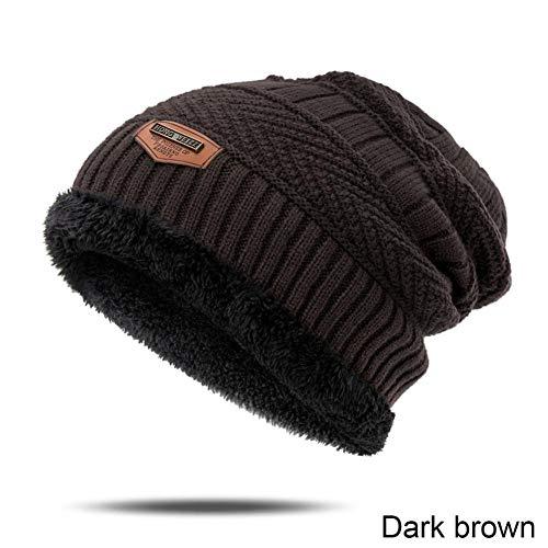 Muts nieuwe mannen winter dikke hoed sjaal set eenvoudige vaste kleur scullies & mutsen breien wol warme papas hoeden in de buitenlucht cap botten