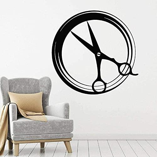 Etiqueta de la pared de PVC removible etiqueta de la pared Zen tijeras redondas etiqueta de la pared herramientas de peluquería salón de belleza 42X43Cm