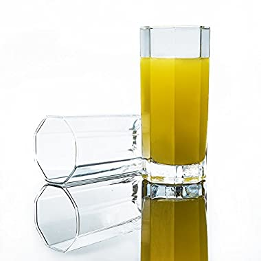 Octogon Highball Drinking Glasses 11 Oz (Set of 6) - Classy Clear Heavy Base Bar Glasses for Water, Beer, Juice, Cocktails and More - Durable and 100% Dishwasher Safe