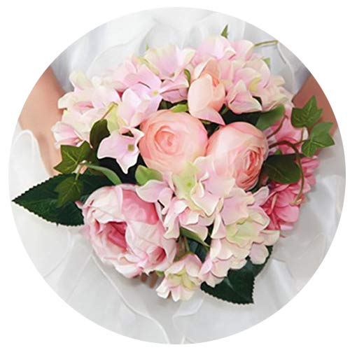 "Artificial Silk Hydrangea Peony Ranunculus Posy Flowers Lu Lotus Bouquet Wedding Home Decoration Approx 8.5"" in Diameter Pink 1"