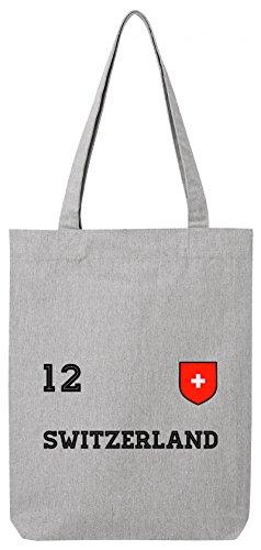 ShirtStreet Swiss Fußball WM Fanfest Gruppen Premium Bio Baumwoll Tote Bag Jutebeutel Stanley Stella Trikot Schweiz, Größe: onesize,Heather Grey